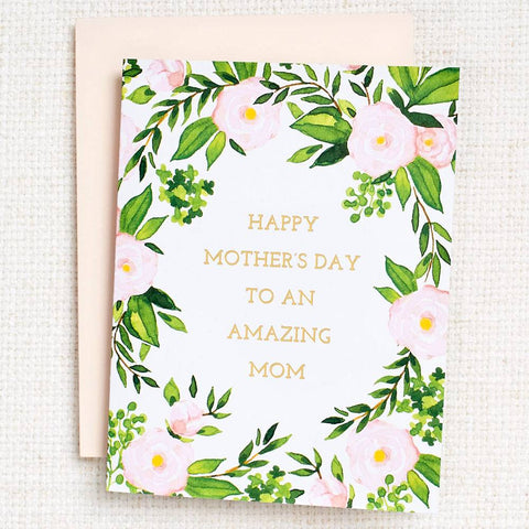 Amazing Mom Floral Foil Mother's Day Card