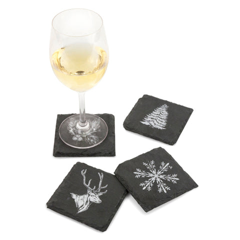 Twine Rustic Holiday Slate Coasters (Set of 4)