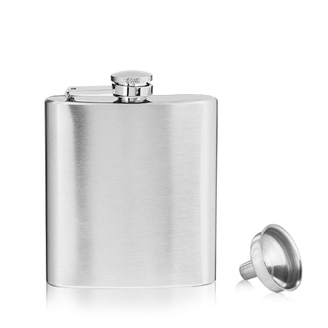 True Stainless Steel Flask with Funnel, 6oz