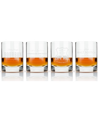 Viski Admiral Etched Whiskey Label Crystal Tumbler - Set of 4