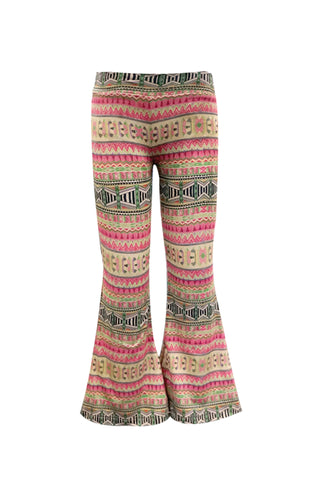 Ethnic Faux Suede Bell Bottom Pants