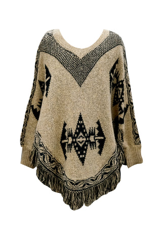 Printed Poncho Sweater