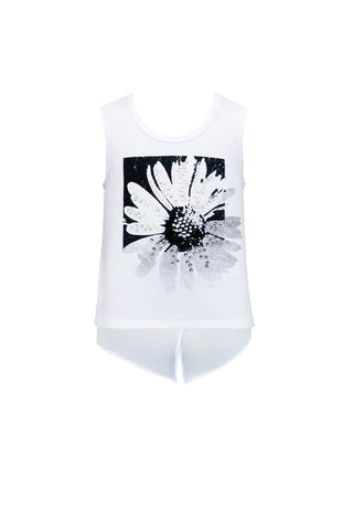 Daisy Rhinestone Hi Low Tank Top