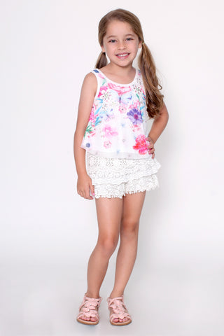 Fresh Spring Tiered Crochet Shorts