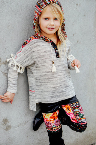 Aztec Knit Faux Leather Hoodie