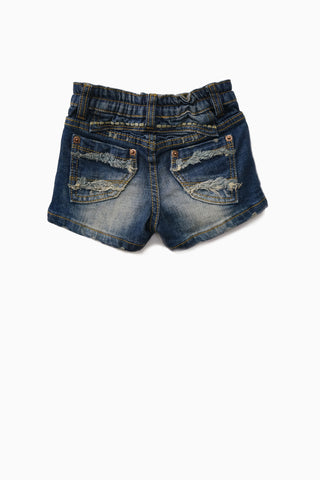 Distressed Wash Denim Shorts
