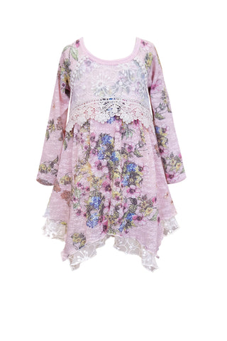 Charming Floral Lace Hanky Dress