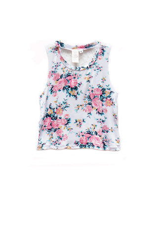 Bright Summer Florals Lace Tank Top