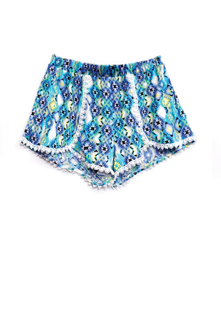 Geometric Lace Trim Shorts