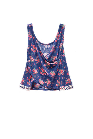 Floral Criss Cross Lace Tank Top
