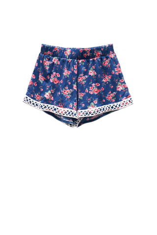 Floral Criss Cross Lace Shorts