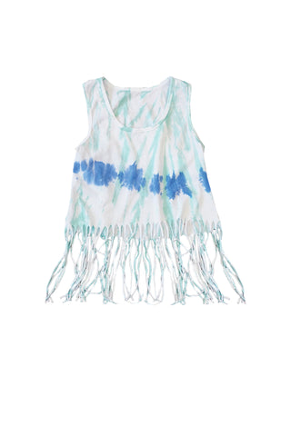 Washed Out Blues Fringe Tank Top