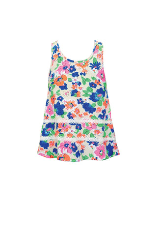Watercolor Floral & Sweet Lace Tank Top