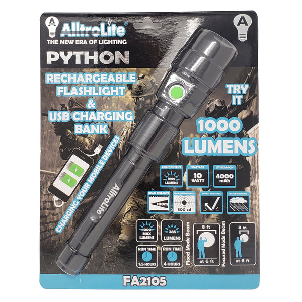 Python Rechargeable Flashlight & USB Charging Bank - alltrolite
