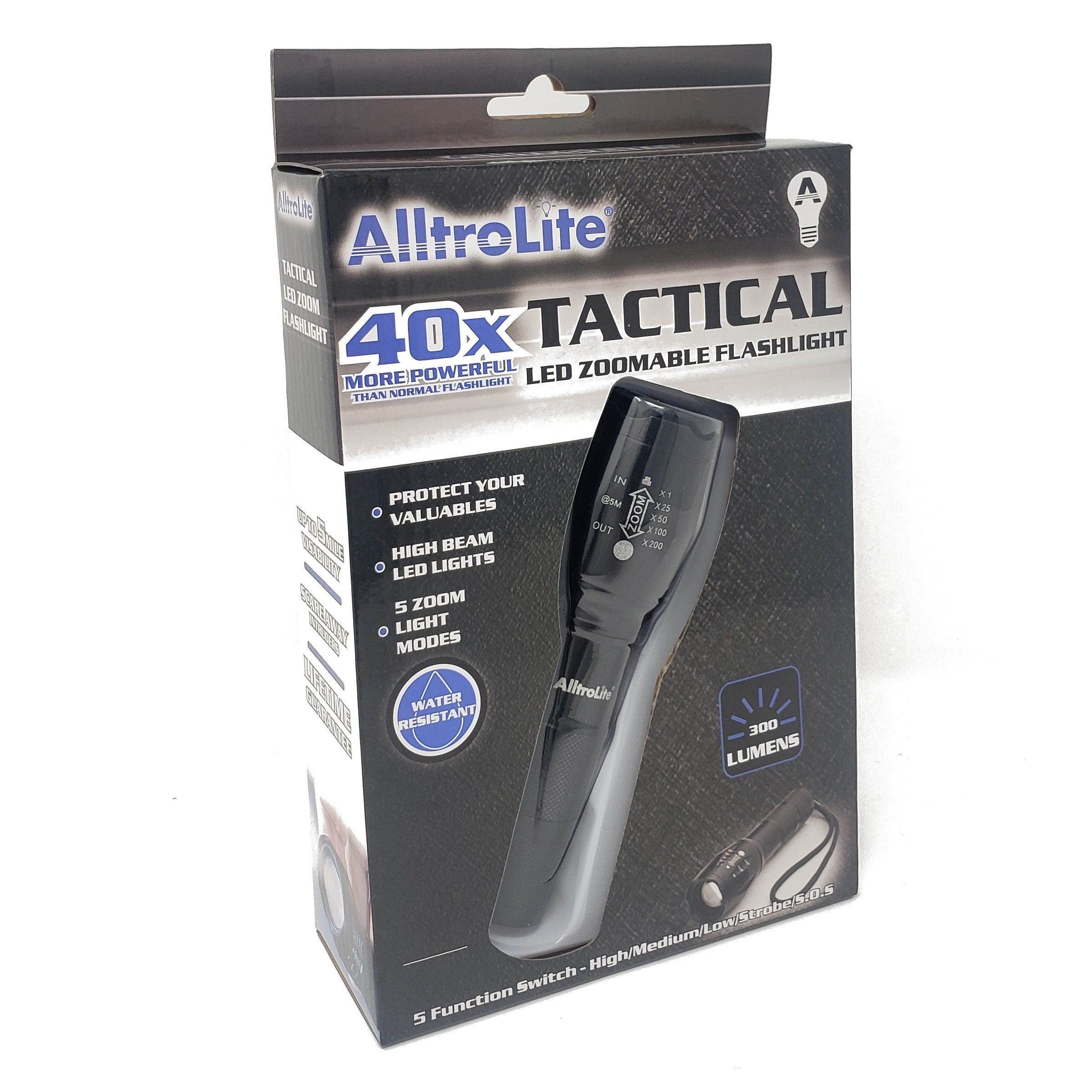 300 Lumens LED Tactical Flashlight [ 1-PACK ] - alltrolite
