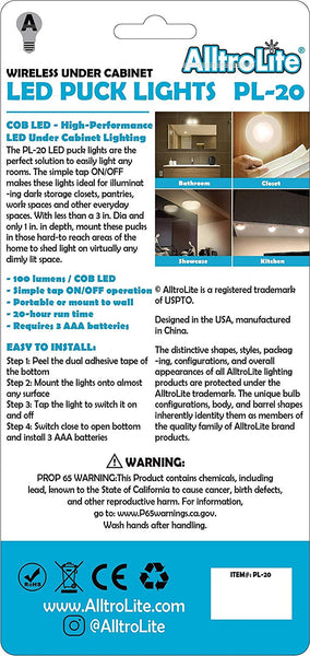 PL20 Wireless LED Puck Light | LED Under Cabinet Lighting | 2-Pack - alltrolite