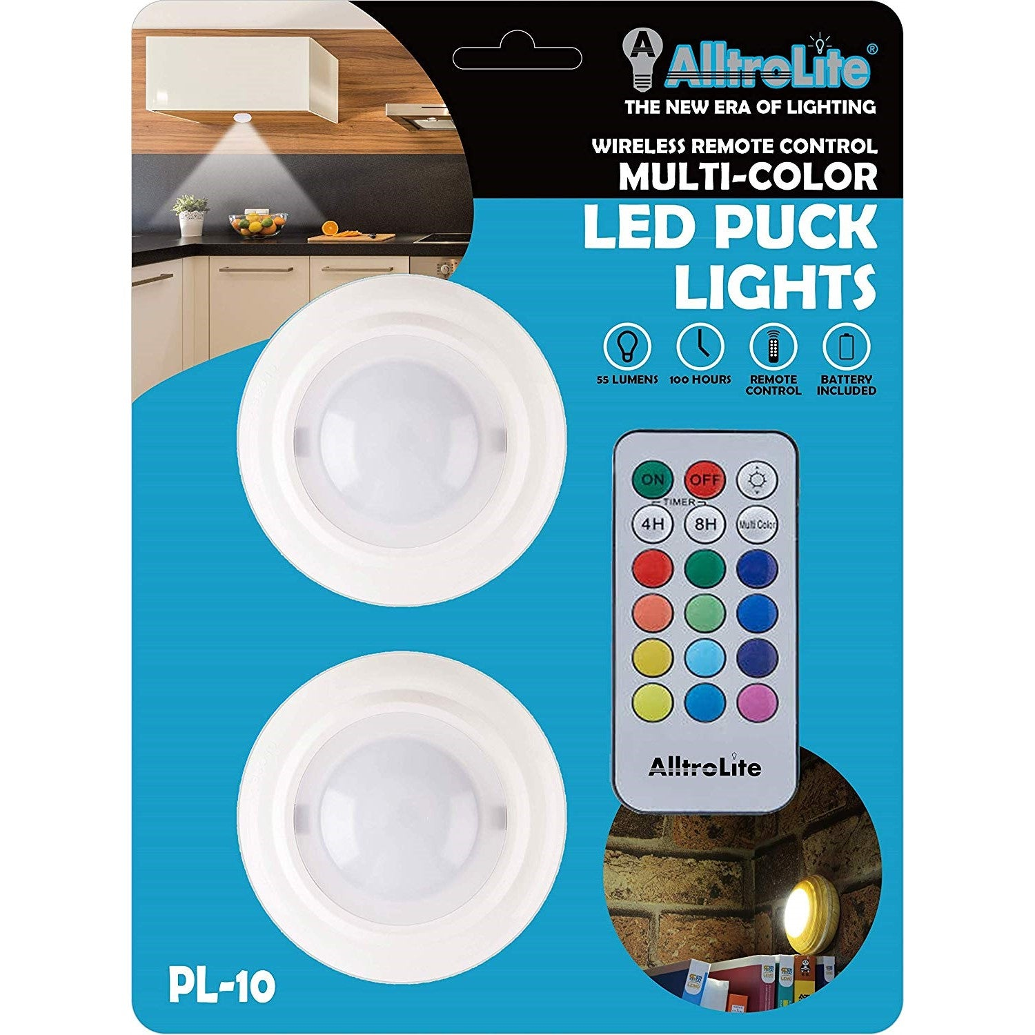 Pl10 Wireless Color Changing Led Puck Light With Remote Control 2 Pack