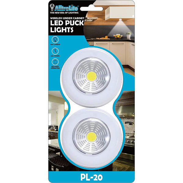 PL20 Wireless LED Puck Light | LED Under Cabinet Lighting | 2-Pack