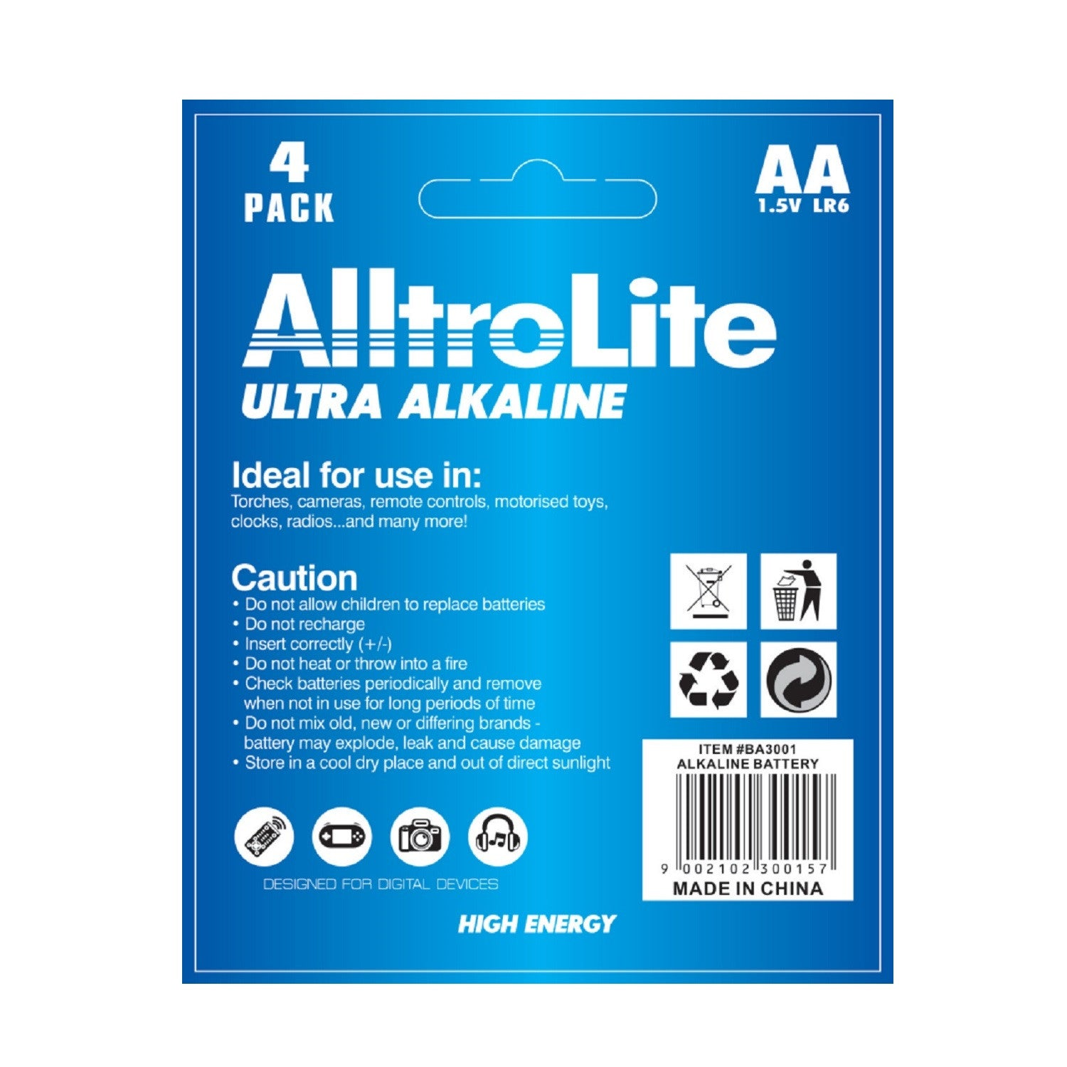 AA Alkaline Battery 4 Pack - alltrolite