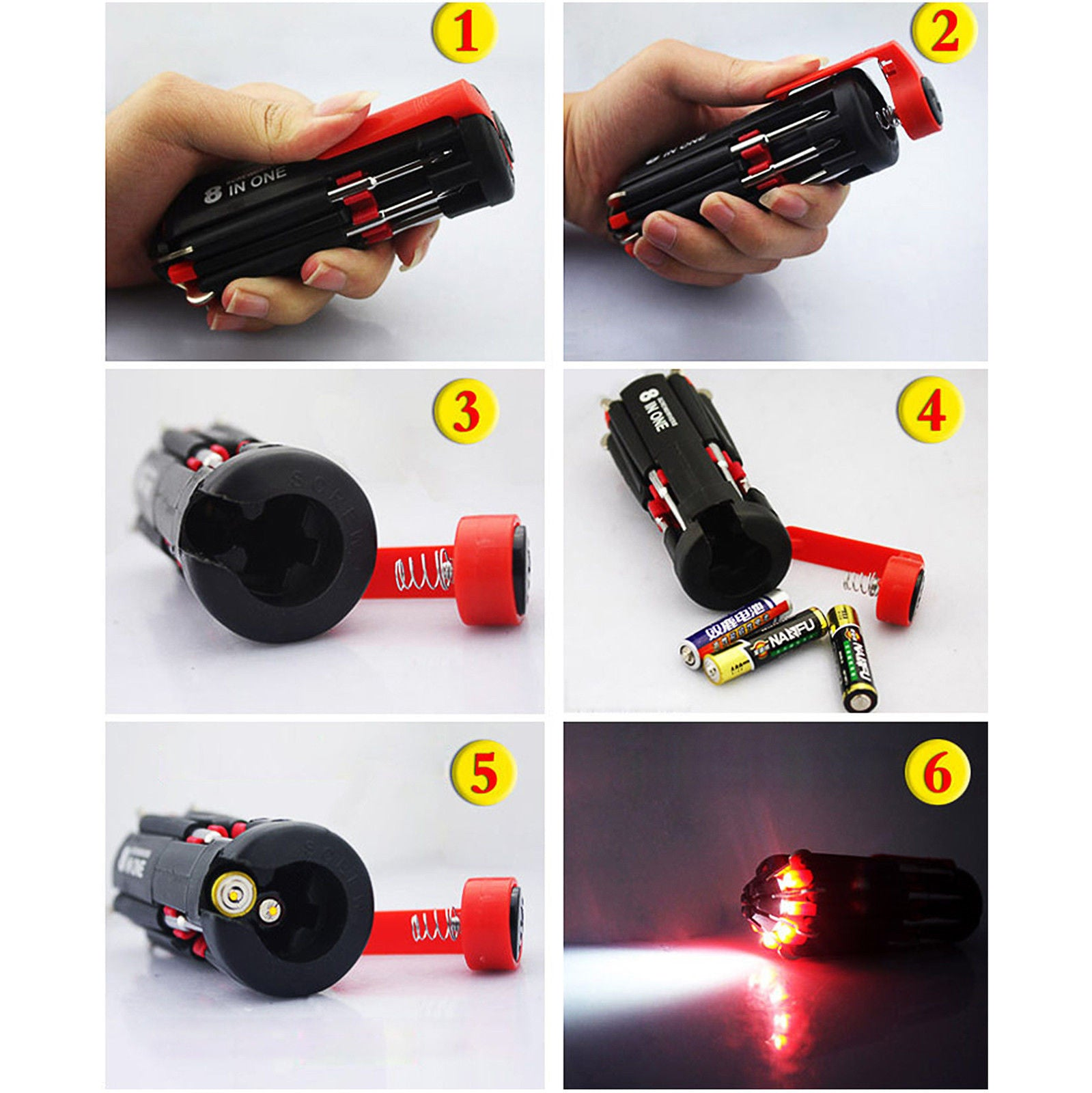 Spider 8 In 1 Multi-Screwdriver Flashlight - alltrolite