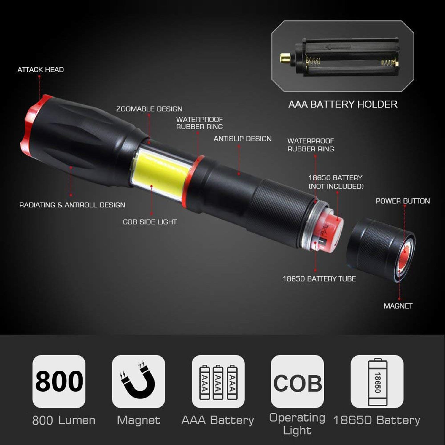 DK20 800 Lumens COB LED Flashlight and Work Light - alltrolite