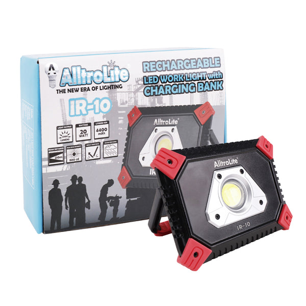 IR10 2000 Lumens Rechargeable COB LED Work Light with Charging Bank - alltrolite