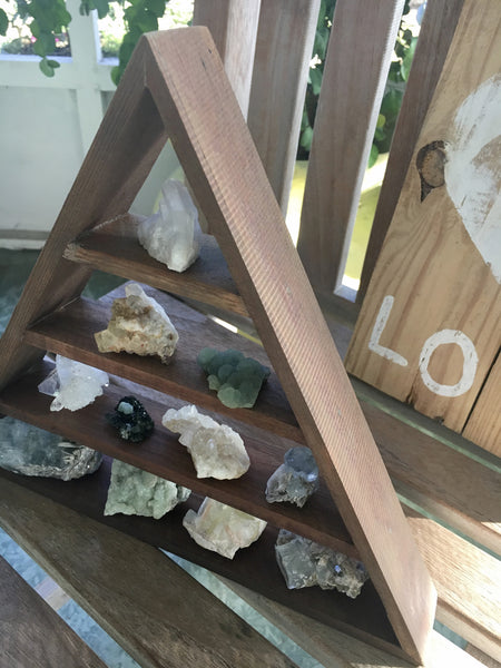 Dark Weathered Wood Stain, Triangle Shelf, Pyramid Shelf, Crystal Display, Crystal