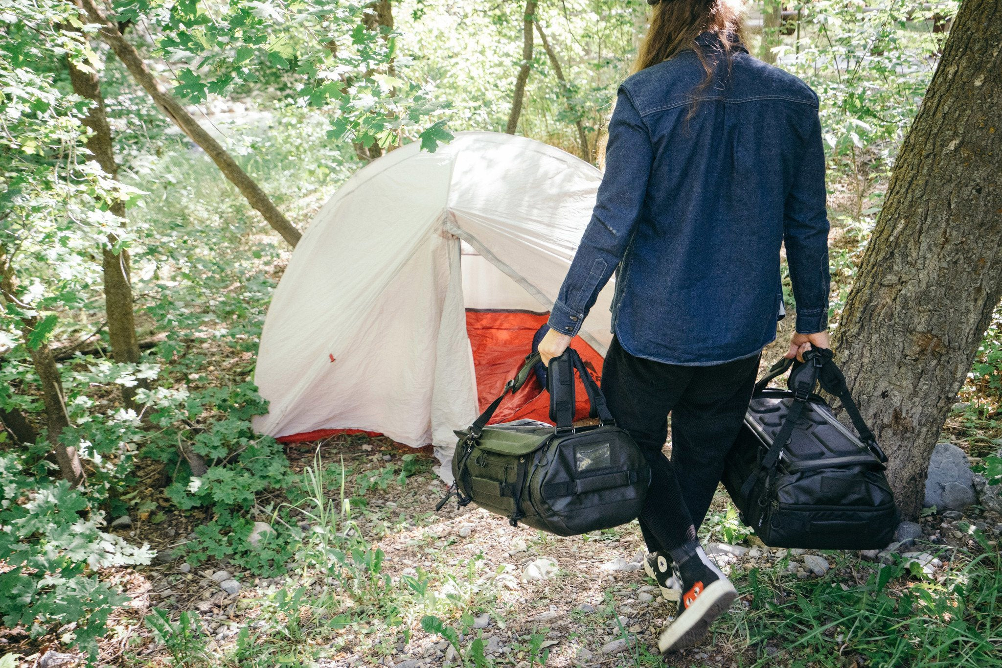 camping with a DUFFEL bag