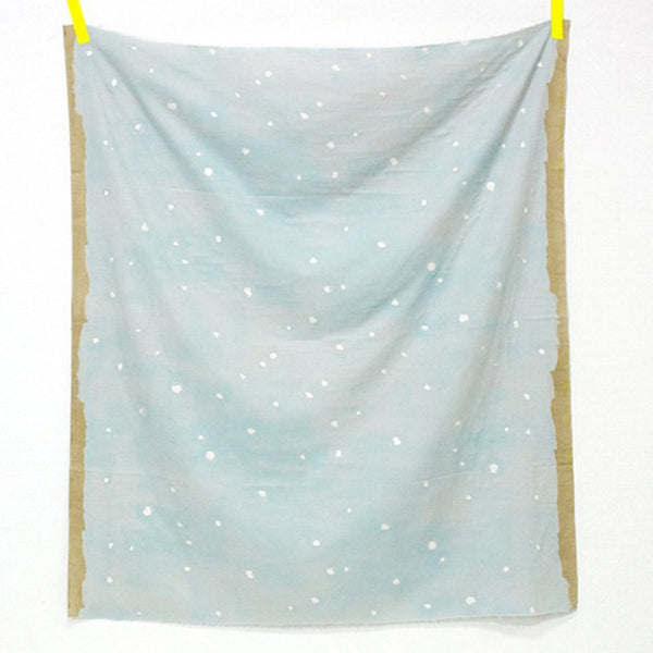 Nani Iro Metallic Jewel Song Sky Blue Double Gauze Dress Fabric