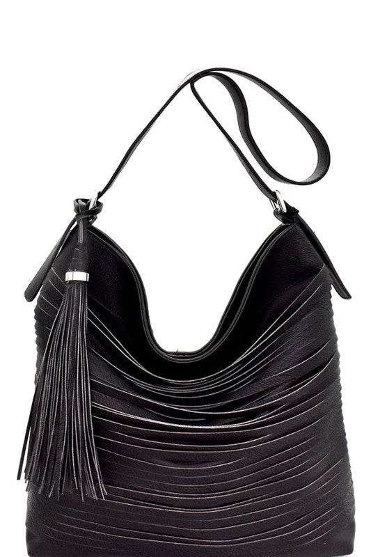 Statement Look on Point - Layered Strip Hobo Bag