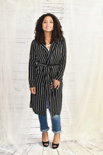 She's a Diva - Long Stripe Duster Black/White