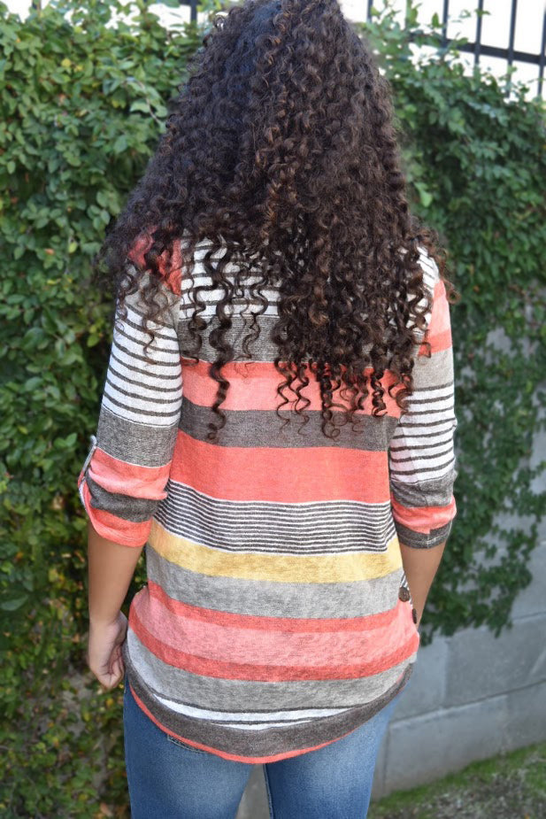 Coral My World with Stripes