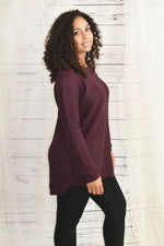 Cherished Moments - Dark Plum Waffle Knit Sweater