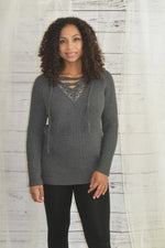 Priority One -  Lace-Up Sweater