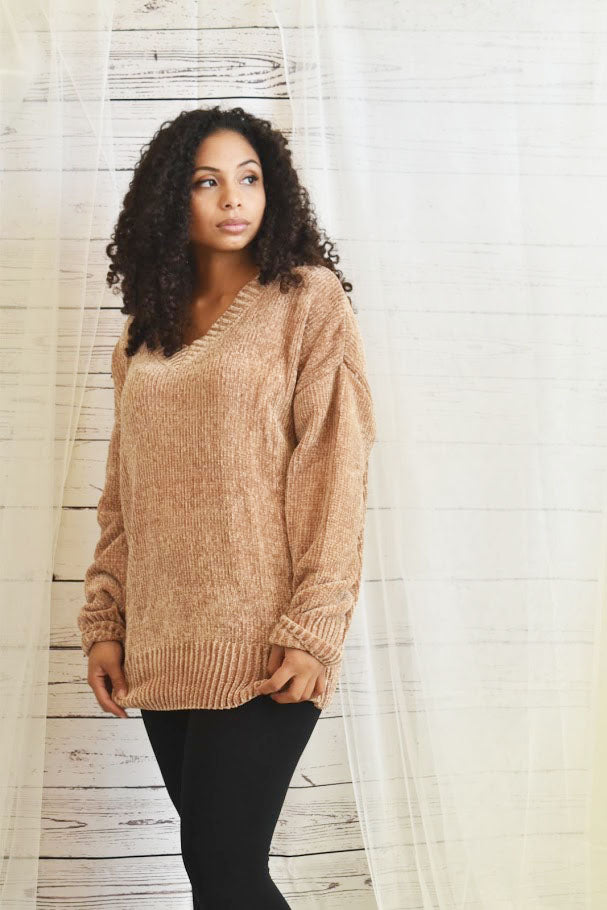 Snuggle Soft - Mocha Oversized Chenille Sweater