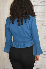 Long Sleeve Ruffle Blue