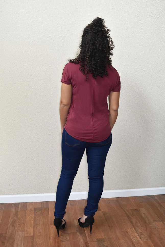 Creative Impression - Embroidered Burgundy Top