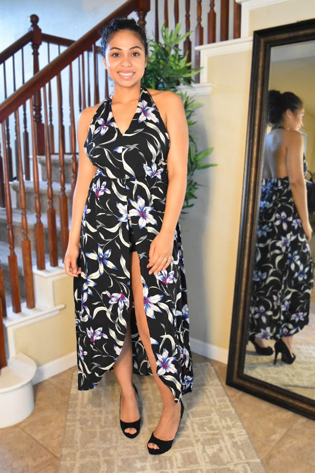 Lovely One - Floral Maxi Dress - Black