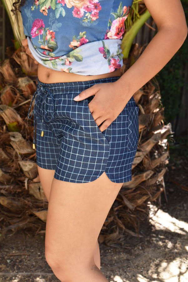 Summertime Chic - Navy Drawstring Shorts