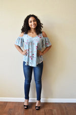 Gorgeous Glow - Sage Flower Print Top