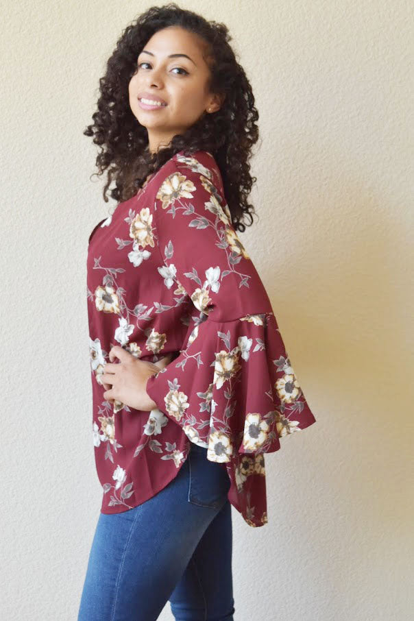 So Chic Wine Floral Print Top