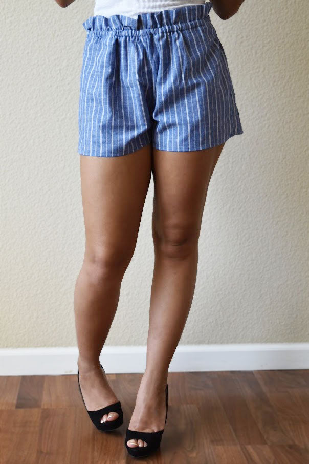 You Remind Me - Striped-Blue High-Waist Shorts
