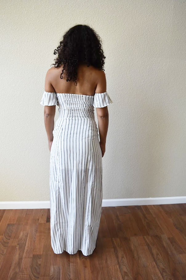 The Essence of Elegance - Stripe Maxi-Dress