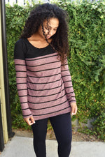 Simply Incredible - Stripe - Mauve Top