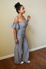 Let Me Be Me - Stripe Jumpsuit - Grey