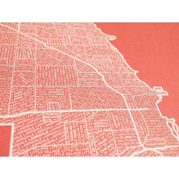 "Chicago Neighborhood Poster - Cream Ink Screen Print by Hand on Coral Paper - 18""x24"" - Decor - George & Augie"