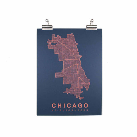 "Chicago Neighborhood Poster - Coral Ink Screen Print by Hand on Navy Paper - 18""x24"" - Decor - George & Augie"