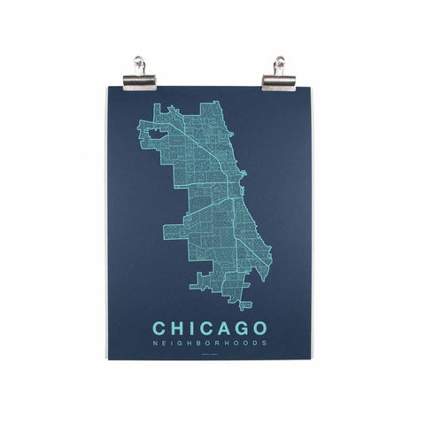 "Chicago Neighborhood Poster - Teal Ink Screen Print by Hand on Navy Paper - 18""x24"" - Decor - George & Augie"