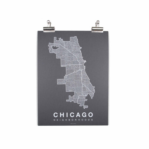 "Chicago Neighborhood Poster - White Ink Screen Print by Hand on Grey Paper - 18""x24"" - Decor - George & Augie"