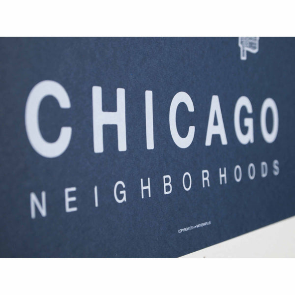 "Chicago Neighborhood Poster - White Ink Screen Print by Hand on Navy Paper - 18""x24"" - Decor - George & Augie"